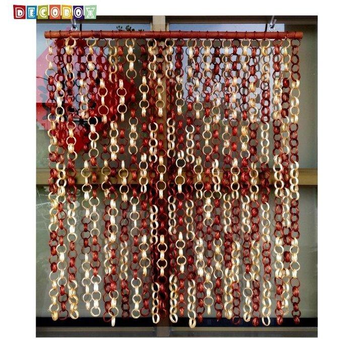 DecoBox日式鄉村風雙色竹圈簾(90*100)(隔間用品.窗簾.門簾.和風竹門簾)