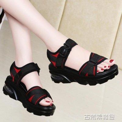運動涼鞋女新款夏季韓版百搭時尚網紅港味復古chic厚底鬆糕鞋