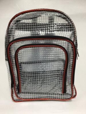 附發票【三層網格後背包 Z14】多功能科學園區用收納包 無塵室工具袋 無塵後背包 無塵袋 網格透明工具包 (紅邊條)