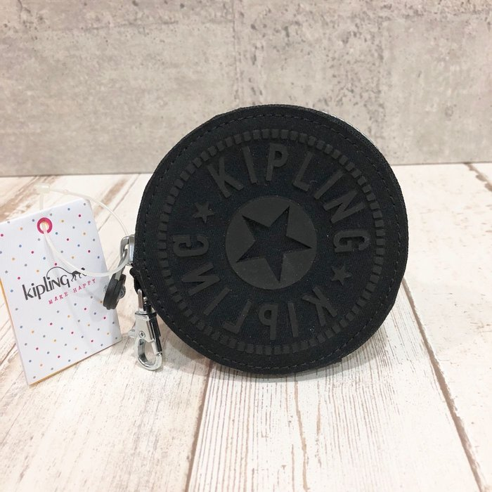 Maple麋鹿小舖 美國購買 kipling 黑色矽膠LOGO圖騰零錢包 * ( 現貨AC8094 )