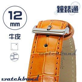 【鐘錶通】C1.25I《亮彩系列》鱷魚格紋-12mm 橙橘┝手錶錶帶/皮帶/牛皮錶帶┥