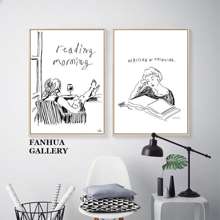 C - R - A - Z - Y - T - O - W - N 早安閱讀黑白速寫人物掛畫餐廳壁畫客廳現代簡約裝飾畫