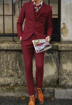 FINDSENSE品牌 韓國男 羊毛呢 紅格子 三件式西裝外套 成套西裝 修身西裝 西裝外套 外套+背心+褲子