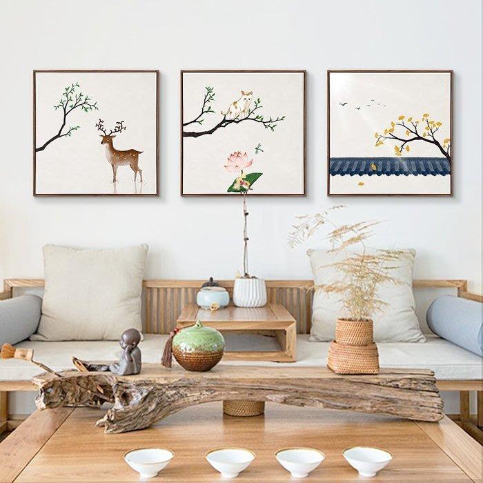 ART。DECO  石家小鬼新中式裝飾畫客廳中國風沙發背景牆壁掛畫韻味國畫發財樹招財鹿可愛貓咪掛畫植物花卉掛畫(12款可