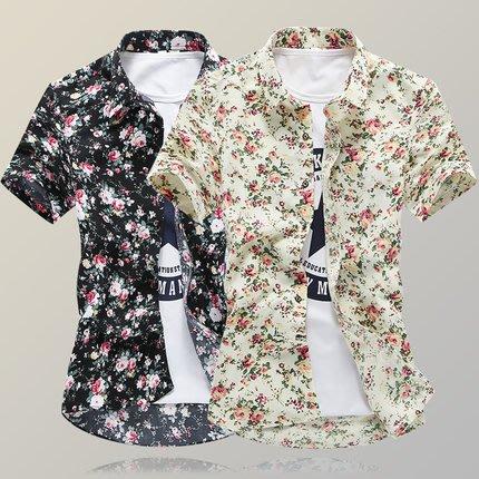 [C.M.平價精品館]新品特價M~3XL/歐風品味有型修身顯瘦短袖印花襯衫