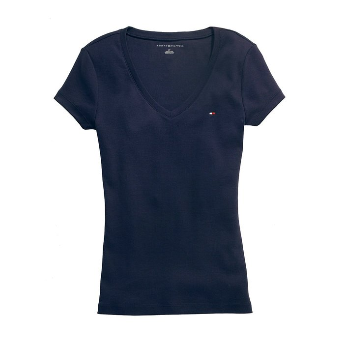 美國百分百【Tommy Hilfiger】T恤 TH 女上衣 V領 T-shirt 短袖 LOGO 深藍 素面 G789