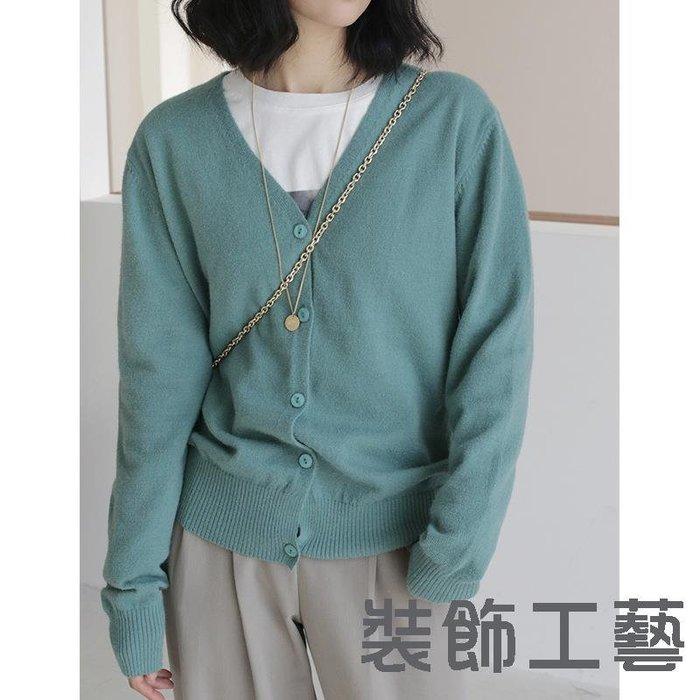 韓版新款v領一排扣修身羊毛針織衫韓國東大門長袖打底毛衫女
