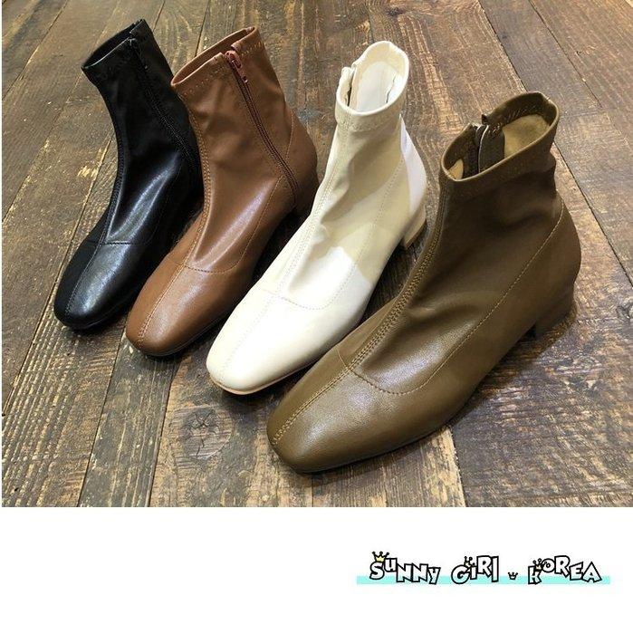 正韓短靴*Sunny Girl*韓國代購圓頭軟皮側拉鏈低跟馬丁靴 2019九月新款 - [WH1360]