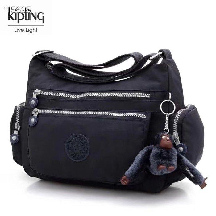 Kipling 猴子包  K132127 黑色 多夾層拉鍊款輕量斜背包肩背包 大容量 旅遊 防水 限時優惠