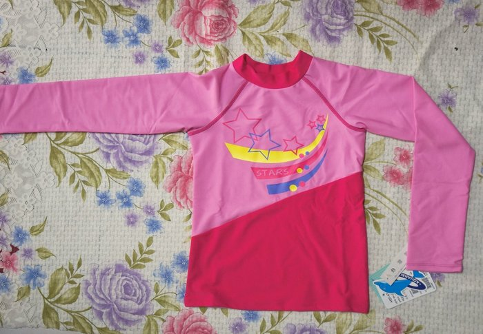 奧可那女童泳裝-甜蜜粉紅有袖款-防曬長袖上衣-萊卡S-XL-特價780元(另有藍綠款)