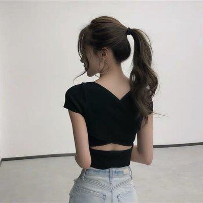 ( )港版縷空露背交叉針織上衣短袖T恤V領上衣