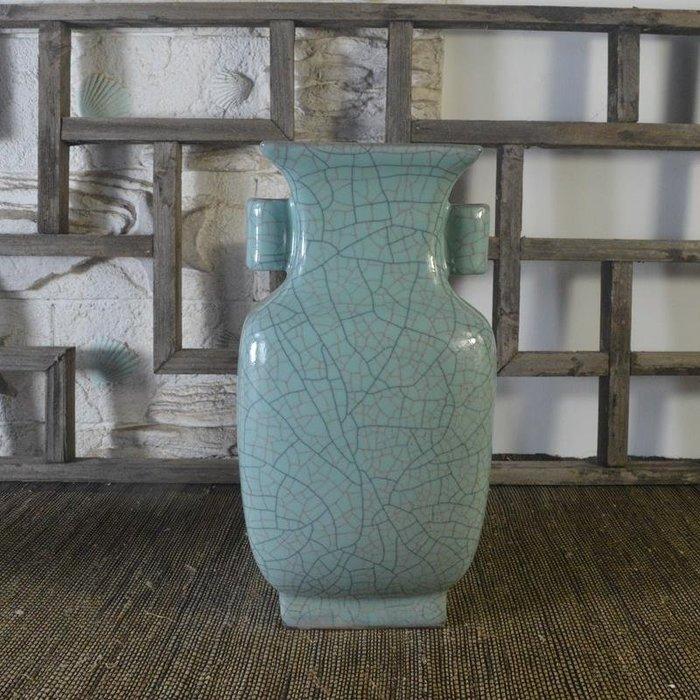 百寶軒 仿古瓷器復古南宋官窯風格藍釉四方瓶花瓶擺件古董古玩收藏品 ZK1515