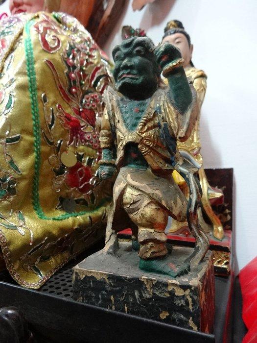 【御寶閣Viboger】古董 文物 藝品 字畫 化石~千里眼 順風耳 百年木雕 將軍 守護神 木雕 礦物彩