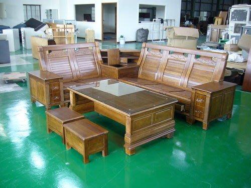 宏品傢俱館 全實木多功能收納櫸木L型組椅 木頭椅 木沙發含大茶几強化玻璃
