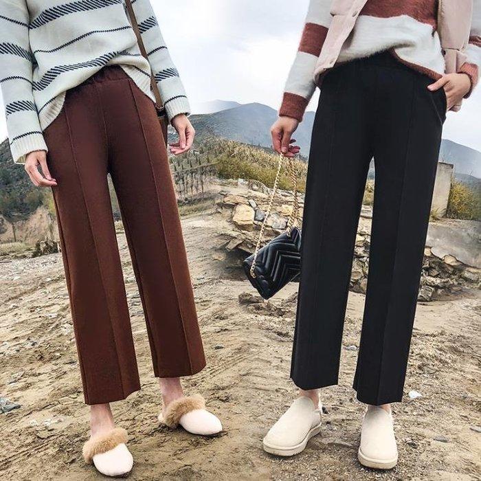 闊腿褲女秋冬新款米色毛呢褲九分妮子褲子女褲腿褲女冬季八分 茱莉亞