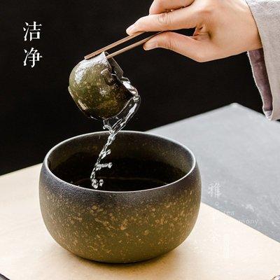 【免運費】復古缽型茶洗陶瓷大建水粗陶茶渣缸黑陶水洗個性杯洗功夫茶具配件QD3C-Y439
