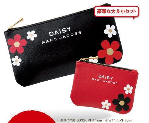 │遇見。小舖│B40312 日雜附錄 MARC JACOBS 花朵 化妝包+零錢包 筆袋 一組