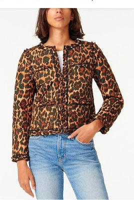 J. Crew Quilted lady jacket in leopard with PrimaLoft12/9止