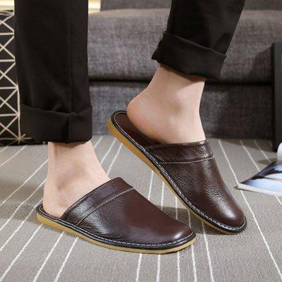 真皮凉拖鞋男士春秋夏季 居家用韩版情侣室内防滑 试衣间牛皮拖鞋