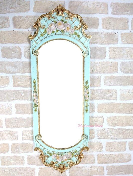 點點蘑菇屋 鄉村風湖水綠立體浮雕玫瑰花掛鏡 仿舊古典玫瑰長方鏡 化妝鏡 梳妝鏡子 復古鏡子 現貨 免運費