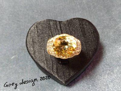 Gary 彩寶設計 金黃綠柱石K金鑽戒