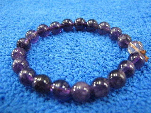 二手舖 NO.2627 天然紫水晶 水晶手鍊 手珠 串珠