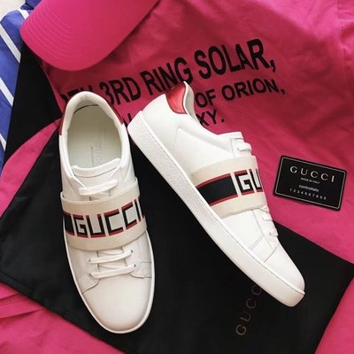 【BLACK A】獨家精品 GG Ace系列條紋織帶鬆緊帶牛皮休閒運動鞋【頂級】男款/女款GUCC!