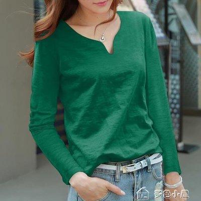 ZIHOPE 長袖T恤 長袖T恤女 純棉墨綠色寬鬆上衣女正韓百搭竹節棉純色體恤ZI812