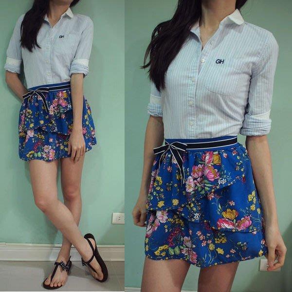 MISHIANA 美國休閒品牌 AEROPOSTALE 女生款棉質寶藍底花朵短裙 (新款上市.特價出售)