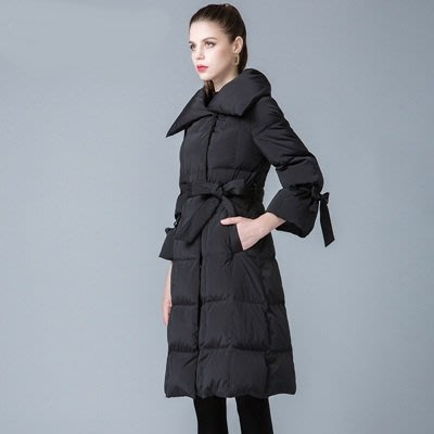 羽絨 外套 翻領夾克-純色綁帶蝴蝶結長款女外套3色73um7[獨家進口][米蘭精品]