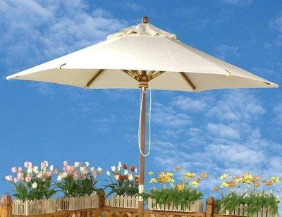 [尚霖傢俱館]戶外休閒遮陽傘含銅套 { OD-210002 } 南洋實木庭園傘 7尺-象牙白