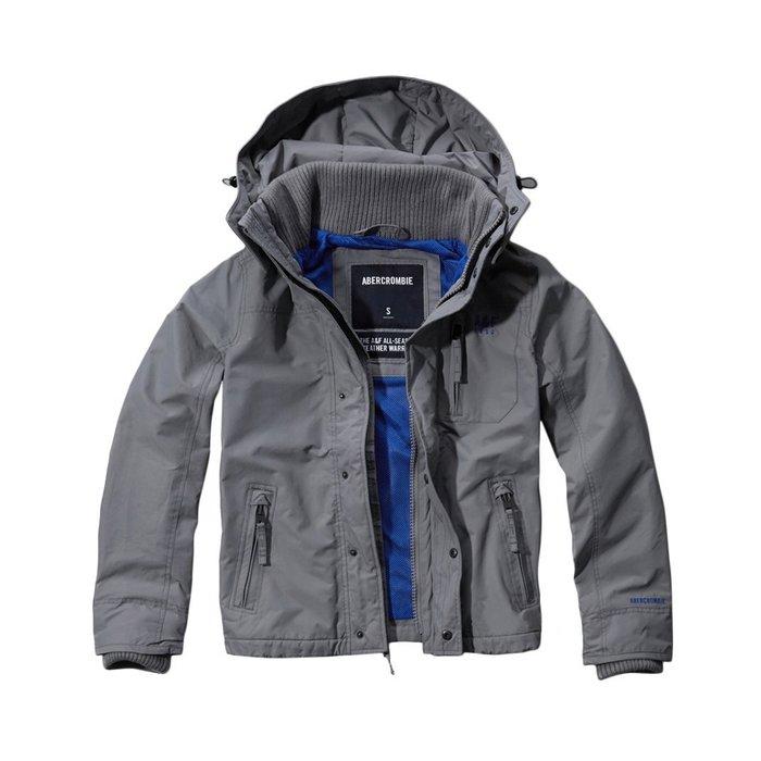 美國百分百【Abercrombie & Fitch】外套 AF 連帽 夾克 麋鹿 風衣 防風 保暖 灰色 M號 I590