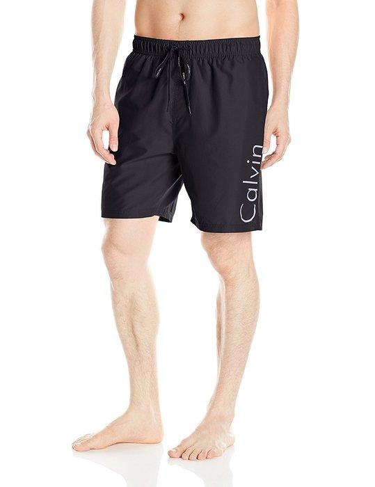 美國百分百【Calvin Klein】短褲 CK 休閒褲 海灘褲 泳褲 沙灘褲 衝浪褲 黑色 男款 L號 I258