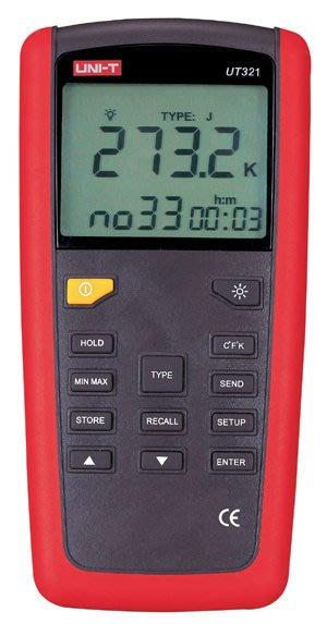 TECPEL 泰菱 》UNI-T 優利德 K/J/T/E 數位溫度計 溫度記錄器 溫度計 UT-321  溫度計