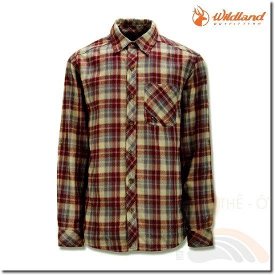 荒野WILDLAND  92206-75磚紅 男款彈性格子布保暖襯衫 格子襯衫 保暖襯衫 透氣 免運費 喜樂屋戶外