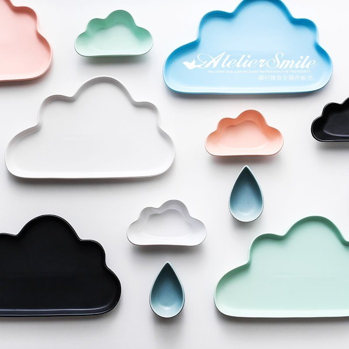 [ Atelier Smile ] 鄉村雜貨 北歐風 雲海 磨砂陶瓷點心盤 首飾收納 # 雲朵餐盤 (現+預)