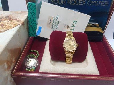 鴻圖當舖 (已售出)Rolex 勞力士 69258 原裝金字塔鑽圈18黃K仕女鑽錶