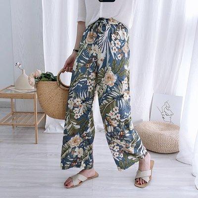 韓國熱帶花朵抽繩鬆緊腰寬鬆百搭雪紡闊腿褲