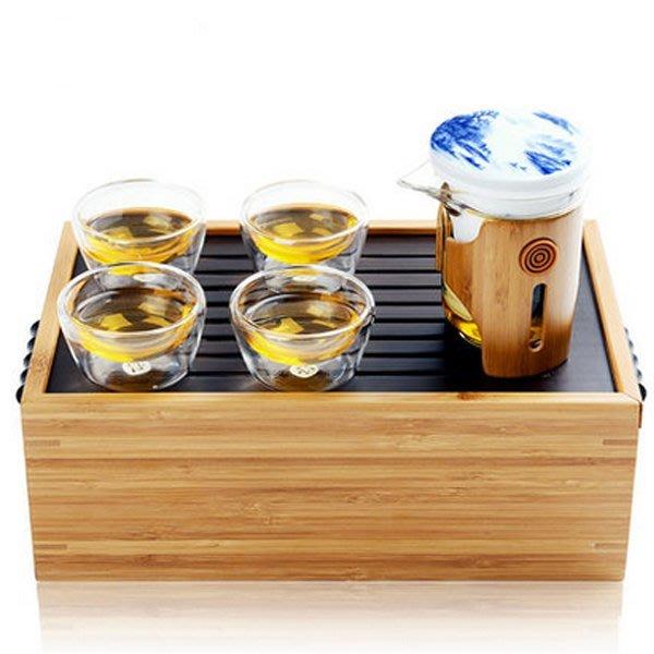 5Cgo【茗道】含稅會員有優惠 40262711666 功夫茶具套裝竹制茶盤青花瓷耐熱玻璃紅茶器旅行茶具花草茶具迷你泡茶