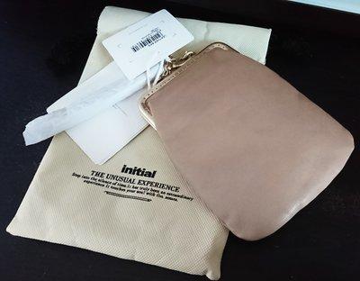 initial leather bag 皮袋 皮包 小手袋 輕便斜孭袋 散銀包 卡其色