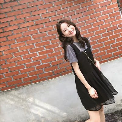 韓版氣質兩件式套裝短袖T恤吊帶裙背心裙...