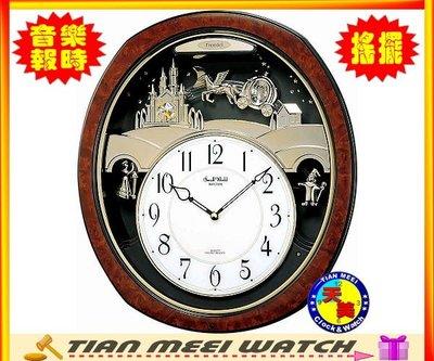 【天美鐘錶店家直營】【下殺↘超低價有保固】日本RHYTHM 麗聲Swarovski 水晶音樂鐘-4MH762WD23