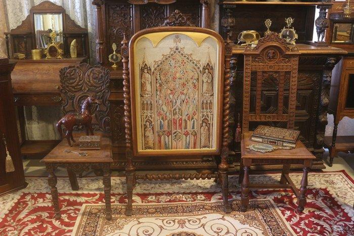 【家與收藏】特價稀有珍藏歐洲百年古董19世紀法國莊園手工木雕精緻教堂刺繡大屏風