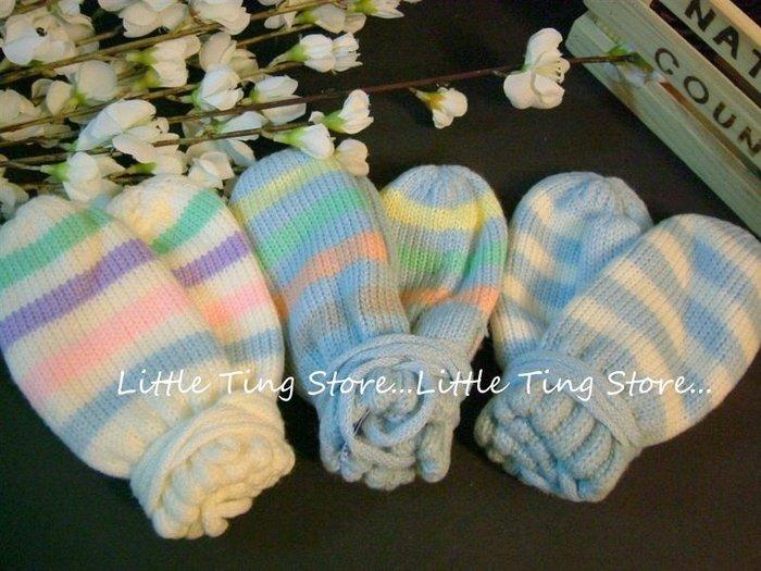 Little Ting Store:MIT台灣製北歐掛吊式掛脖子彩色條紋厚毛線手套無指新生兒防抓手套 39元