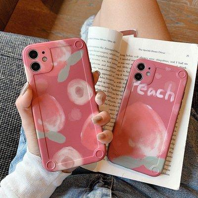 3C專賣#可愛水蜜桃iphonexsmax蘋果11手機殼11pro全包防摔8plus創意個性7plus硅膠套蘋果x殼攝像