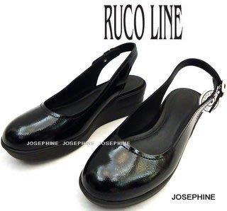 喬瑟芬【RUCO LINE】賠售清倉$7200~2012春夏  黑色 亮漆皮  NAPLAK  褉型 涼鞋