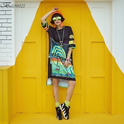 《現貨》 Oversize 303207 中大尺碼 運動休閒T恤裙 抽象誇張撞色設計 寬鬆舒適 Baonizi 寶妮子