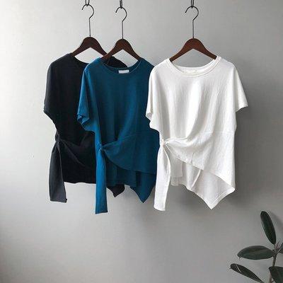 限時特價350 YOHO 現貨短袖上衣 (YS7959) 實拍設計款小心機綁帶寬鬆棉質上衣 短袖T恤 襯衫