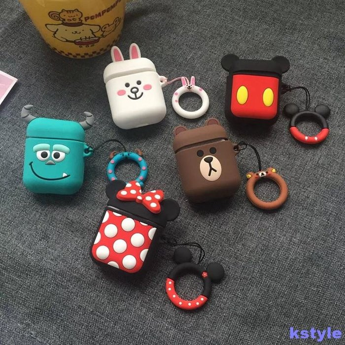 air pods保護殼 迪士尼Airpods保護套蘋果無線藍牙耳機套iPhone米奇米妮帶指環扣