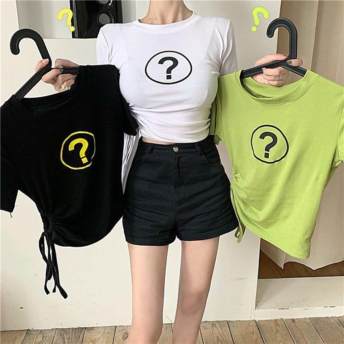 夏季牛油綠T恤抹茶綠港味氣質圓領抽繩緊身短款短袖百搭上衣女潮
